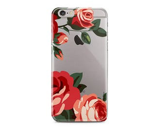 Christmas present for wife - Floral red roses clear iPhone case TPU rubber sides - iPhone SE 5 5s 6 6s 7 8 Plus X Pretty gift for her (1588)