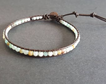 Amazonite  Brown  Leather Anklet