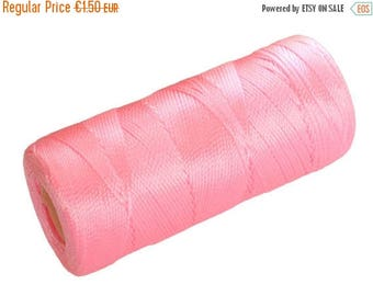 ON SALE 15 Meters Micro Macrame Thread, Nylon Cord Pink not waxed, Crochet Beading String - PINK