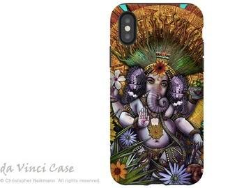 Ganesha iPhone X Tough Case - Hindu Mayan Fusion Art iPhone 10 Case - Dual Layer Protection - Ganesha Maya