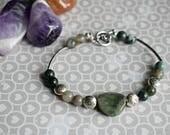 Jasper Bracelet, Lotus Flower Bracelet, Agate Jewellery, Gemstone Jewellery,  Green Jasper, Indian Agate, Healing Bracelet,  Gifts for Women