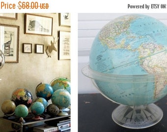 """ON SALE 1961, National Geographic, World Globe, 12"""", Vintage, Lucite Cradle/Stand, Map, Blue, Collectibles, Melville Bell Grosvenor Edition"""