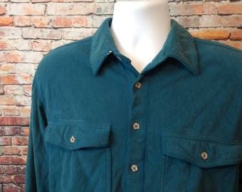 Vintage REI Polartec green shirt, large (C016)