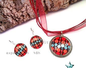 Set necklace, earrings, polka dots, small multicolored dots, fashion, retro