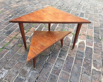 Vintage set of midcentury modern nesting occasional tables / boomerang table / Handmade geometric wooden MCM end table