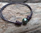 Tahitian Black Pearl Leather Bracelet