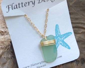 Aqua Blue Hawaiian Sea Glass Necklace