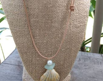 Hawaiian Sunrise Shell Leather Necklace