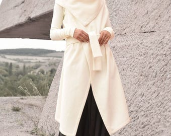 Off White Wool Cashmere Sleeveless Coat / Beautiful Loose Vest / Cashmere Wool Blend   Vest with Belt /HandMade by AAKASHA A06110