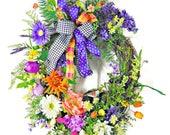 Spring Tulip Wreath, Wreath with Bird nest, Purple Yellow Wreath, Everyday Grapevine Wreath, Wreath w Bow, Floral Grapevine Wreath, Wreaths