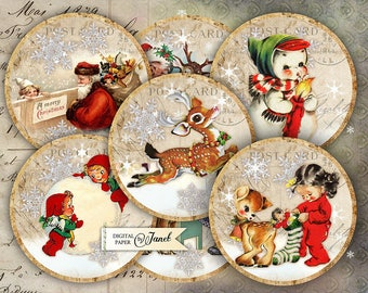 Ho ho ho - 2.5 inch circles - set of 12 - digital collage sheet - pocket mirrors, tags, scrapbooking, cupcake toppers