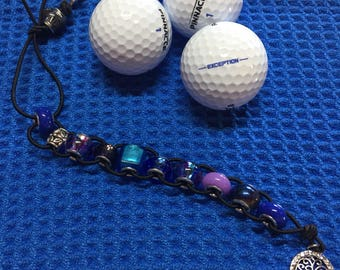 Golf beaded stroke counter in blues and purple with cute crystal charm