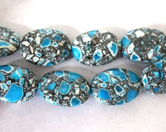25 mm Blue Mosaic Flower Turquoise Oval Beads