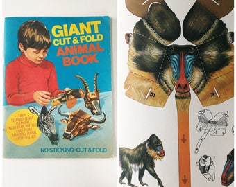 Vintage 1970s Murrays Childrens Books Giant Cut & Fold Mask Animal Colouring Book