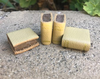 Butter Yellow Leather Book - Dollhouse Miniatures
