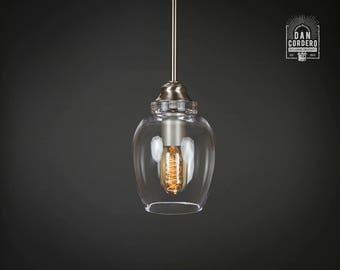 Pendant Light Fixture | Edison Bulb | Brushed Nickel | Pendant | Kitchen Light | Light Fixture | Pendant Light | Small Lotus Shade