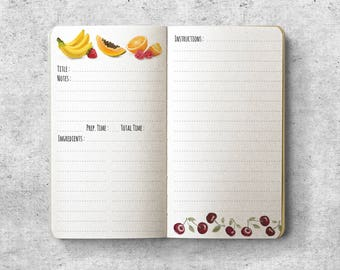 Printable Personal Planner Insert.  Recipe. Fruits.