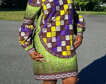 African Print Shift Dress. Long Bishop Sleeves. Lace Collar. Handmade. Womens Dresses.