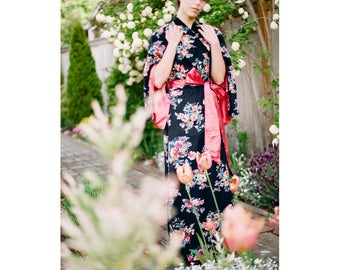 """The """"Haiku"""". One custom robe in modest cotton trimmed with satin Bohemian womens kimono long robe with pockets Art deco flapper Gatsby style"""