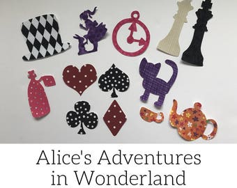 Alice's Adventures in Wonderland Iron on Appliques for Book Themed Baby Shower