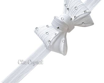 Bow soft headband, toddler headband, Swarovski headband, bow headband, flower girls, wedding, hair accessories, girls, soft bow headband