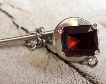 2.11 Carat Pyrope Garnet Gemstone Men's Tie Tack and Back Sterling Silver Hand Cut Gem