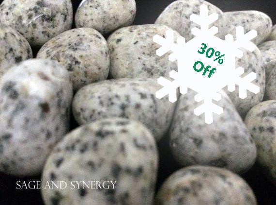 Tumbled Dalmatian Jasper Healing Stone Dalmatian Stone Crystal Healing Metaphysical Mineral Black White Polka Dots Craft Supplies