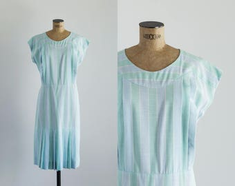 Vintage 1970s Blue And Mint Day Dress - 70's Fashion - Biarritz Dress