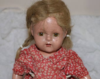 Vintage 1930s/40s Composition Toddler Doll - Composition Body - Unmarked - Glass Sleep Eyes - Mohair Wig