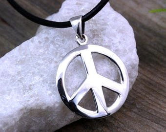 Sterling silver Peace Sign Necklace, Peace Necklace, Silver Peace sign Pendant Necklace. Choose your chain, Peace sign Jewelry. Medium R-784