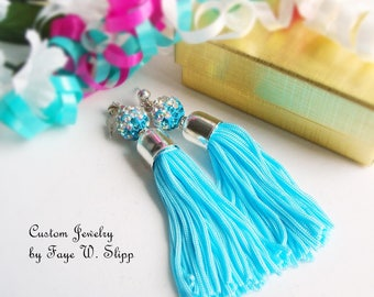 FREE SHIPPING, Turquoise Tassel Earrings, with Tri-Color Sparkle Sambala Bead andGold Plated  or Silver Plated Bead Caps and Stud Posts
