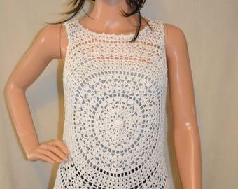 Charming White Sun Hand made crochet thank top.