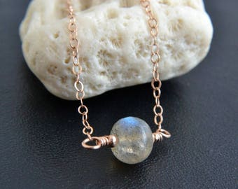 Labradorite Necklace, 14K Rose Gold Filled, Rose Gold Jewelry, Blue Flash, Handmade, Blue Gray Gemstone, Happy Cats Designs