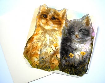 Post card and matching envelope. Pastel and collage. Two kittens.