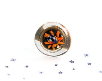 Orange implosion poisonous flower Lampwork Glass cabochon ring