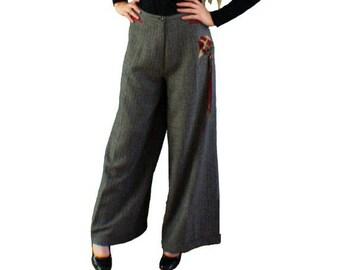 Pantalon large en chevron gris-noir avec pli américain