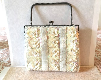 Vintage  white beaded bag,wedding bag,bridal bag,beaded bag