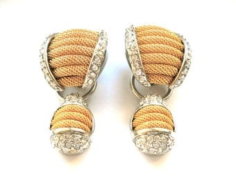 Designer R Gold Mesh & Sparkly Rhinestones Convertible Earrings,  Bold Runway Design  Circa 1980
