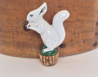Vintage Ceramic Figural Bottle Stopper, Liquor Pourer, Squirrel with Nut, Cool Barware, Fun One of Kind