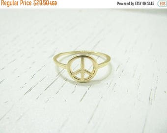 SALE - Peace sign ring - Gold peace ring - Peace ring - Dainty Peace ring - Gold ring - Peace sign jewelry - Peace symbol