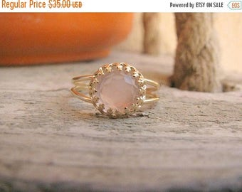 SALE - Rose Quartz ring - Gold Rose ring - Rose quartz gold ring - Rose Quartz band - Love jewelry - Gold band ring - Pink stone ring