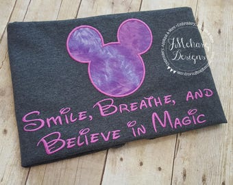 Believe in Magic Mouse Custom embroidered Disney Inspired Vacation Shirts for the Family! 846 purple