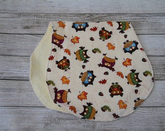 Fall Owl Burp Cloth