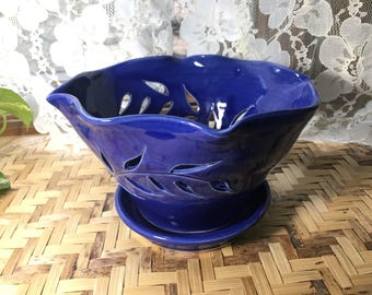 Handmade Fruit Bowl in Cobalt Blue Porcelain