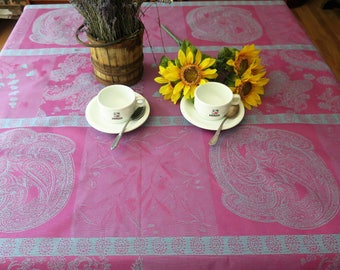 Rectangular Tablecloth. Cotton Jacquard coated.French fabric.Stain resistant and water proof! Paisleys in purple