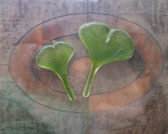 """Cabochon 2.75"""" - 3.25"""" Ginkgo Leaves Green Flared Fan Leaf Art Glass Tiles for Mosaic and Assemblage Set of 2"""