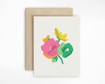 Abstract Bouquet Blank Note Card