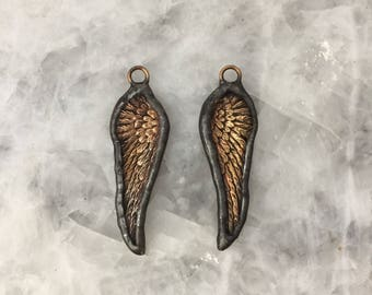 "Soldered Angel Wing Pendant, Charm, 2+1/4"", Raw Brass, Lead Free, Hand Made"