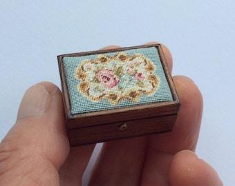 Miniature tapestry lid sewing or trinket box