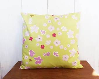 Cushion cover 40 x 40 cm, green, pink and gold Japan floral design fabric